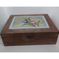 Caja de madera flores